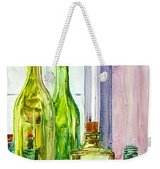 Bottles - Shades Of Green Weekender Tote Bag by Anna Ruzsan