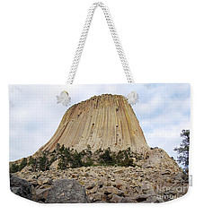 Weekender Tote Bag featuring the photograph Boulder Field Beneath Devils Tower National Monument Wyoming Usa by Shawn O'Brien