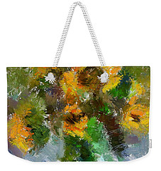 Weekender Tote Bag featuring the painting Bouquet With Sunflowers by Dragica  Micki Fortuna
