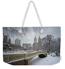 Bow Bridge Central Park In Winter  Weekender Tote Bag