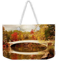Weekender Tote Bag featuring the photograph Bow Bridge Reflected by Jessica Jenney