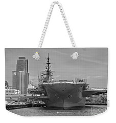Bow Of The Uss Midway Museum Cv 41 Aircraft Carrier - Black And White Weekender Tote Bag