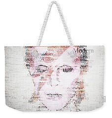 Bowie Typo Weekender Tote Bag by Taylan Apukovska