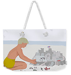 Boy And Sand Fort Weekender Tote Bag by Fred Jinkins