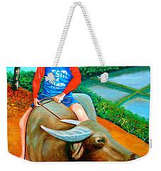 Boy Riding A Carabao Weekender Tote Bag by Lorna Maza