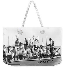 Boys Hold Up Their Fish Weekender Tote Bag by Underwood Archives