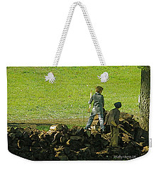 Weekender Tote Bag featuring the photograph Boys Will Be Boys by Kathy Barney