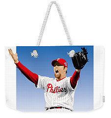 Weekender Tote Bag featuring the digital art Brad Lidge Champion by Scott Weigner