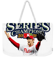 Weekender Tote Bag featuring the digital art Brad Lidge Ws Champs Logo by Scott Weigner