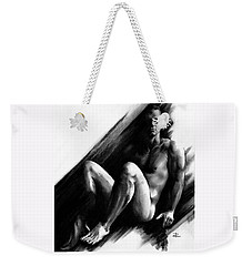 Weekender Tote Bag featuring the drawing Bradley by Paul Davenport
