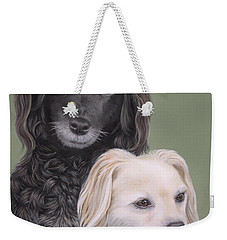 Weekender Tote Bag featuring the painting Brea And Randy by Jane Girardot