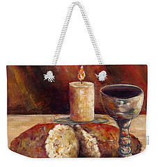 Bread And Wine Weekender Tote Bag by Lou Ann Bagnall