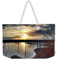 Weekender Tote Bag featuring the photograph Breakwater Boat Dock Sunset by Chriss Pagani
