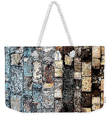 Weekender Tote Bag featuring the photograph Bricks Of Turquoise And Gold by Stephanie Grant