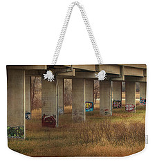 Weekender Tote Bag featuring the photograph Bridge Graffiti by Patti Deters