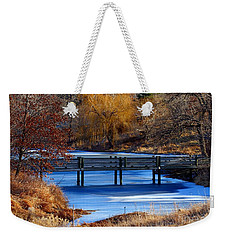 Weekender Tote Bag featuring the photograph Bridge Over Icy Waters by Elizabeth Winter