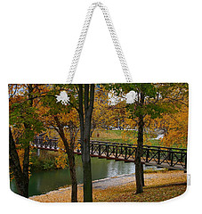 Weekender Tote Bag featuring the photograph Bridge To Fall by Elizabeth Winter