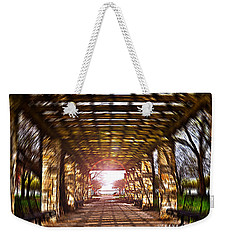Weekender Tote Bag featuring the photograph Bridge To The Light From The Series The Imprint Of Man In Nature by Verana Stark
