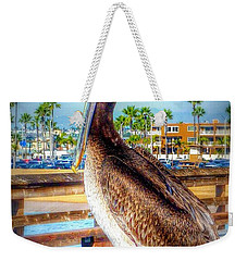 Brief Pelican Encounter  Weekender Tote Bag by Susan Garren