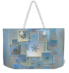 Weekender Tote Bag featuring the photograph Snowflake Collage - Bright Crystals 2012-2014 by Alexey Kljatov