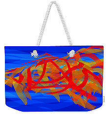 Weekender Tote Bag featuring the digital art Bright Fish In Blue Water by Stephanie Grant