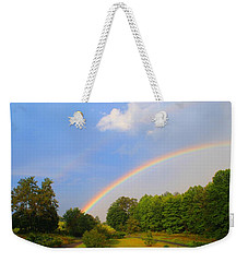 Weekender Tote Bag featuring the photograph Bright Rainbow by Kathryn Meyer