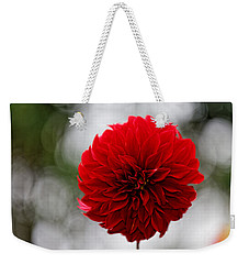 Bright Red Dahlia Weekender Tote Bag