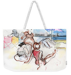 Weekender Tote Bag featuring the painting Brighton Beach On A Windy Day by Carolyn Weltman