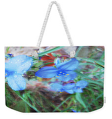 Weekender Tote Bag featuring the photograph Brilliant Blue Flowers by Cathy Anderson
