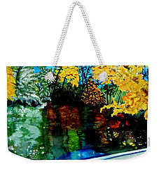 Weekender Tote Bag featuring the painting Brilliant Mountain Colors In Reflection by Lil Taylor