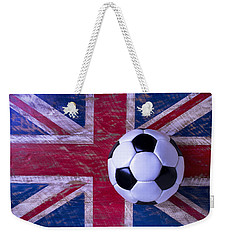 British Flag And Soccer Ball Weekender Tote Bag by Garry Gay