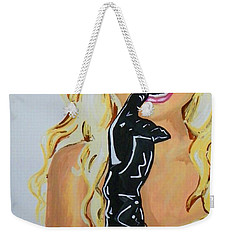 Weekender Tote Bag featuring the painting Britney by Marisela Mungia