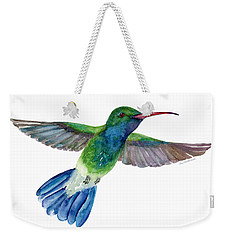 Broadbilled Fan Tail Hummingbird Weekender Tote Bag by Amy Kirkpatrick