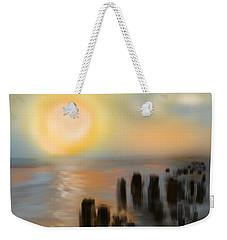 Weekender Tote Bag featuring the digital art Broken Dock by Christine Fournier