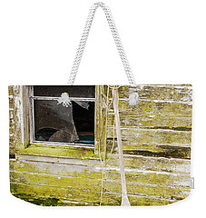 Weekender Tote Bag featuring the photograph Broken Window by Mary Carol Story