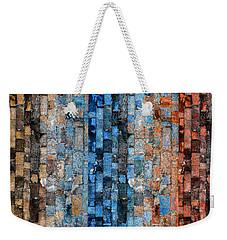 Weekender Tote Bag featuring the digital art Bronze Blue Wall by Stephanie Grant