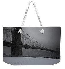 Brooklyn Bridge Blizzard Weekender Tote Bag
