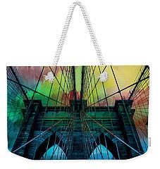 Weekender Tote Bag featuring the digital art Psychedelic Skies by Az Jackson