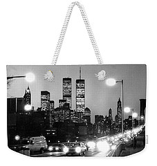 Brooklyn Bridge Traffic II Dusk 1980s Weekender Tote Bag by Gary Eason