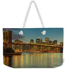 Brooklyn Bridge Twilight Weekender Tote Bag by Clarence Holmes