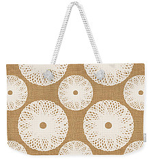 Brown And White Floral Weekender Tote Bag