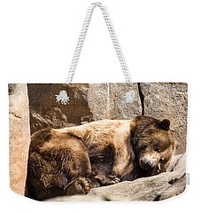 Brown Bear Asleep Again Weekender Tote Bag by Chris Flees