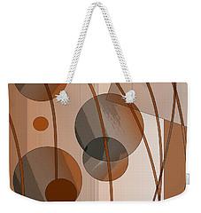 Weekender Tote Bag featuring the digital art Brown Geometric by Mary Bedy