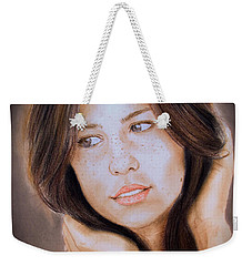 Brown Haired And Lightly Freckled Beauty Fade To Black Version Weekender Tote Bag by Jim Fitzpatrick