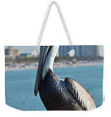 Weekender Tote Bag featuring the photograph Brown Pelican by Robert Meanor