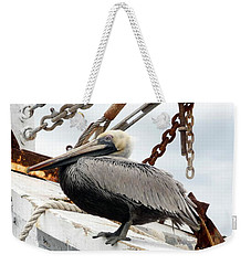 Weekender Tote Bag featuring the photograph Brown Pelican by Valerie Reeves