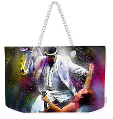 Bruce Springsteen And Clarence Clemons Weekender Tote Bag by Miki De Goodaboom