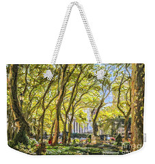 Bryant Park October Morning Weekender Tote Bag by Liz Leyden