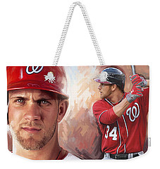 Weekender Tote Bag featuring the painting Bryce Harper Artwork by Sheraz A