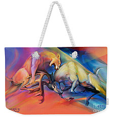 Weekender Tote Bag featuring the painting Buck Off by Rob Corsetti
